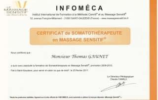 Bien Être avec Soi Thomas Gaunet 91 certificat somatothérapeute