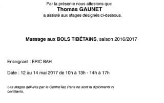 Bien Être avec Soi Thomas Gaunet 91 attestation massage bol tibétain